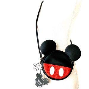Disney Mickey Mouse Round Glitter Crossbody Bag